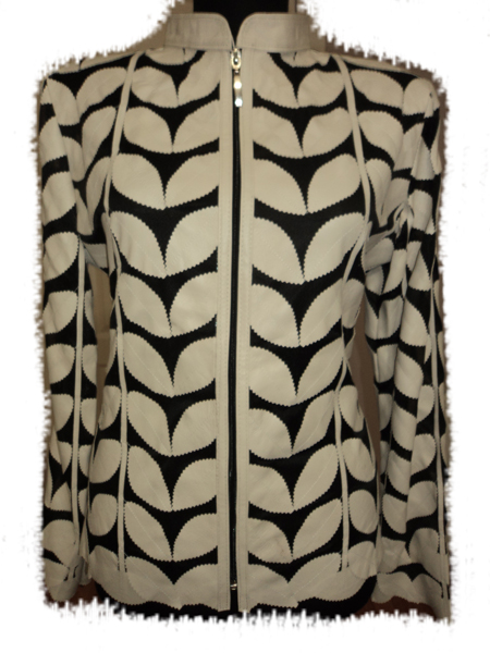 Beige Leather Leaf Jacket for Women