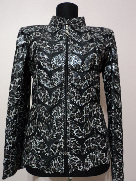 Black Leopard Pattern Leather Leaf Jacket for Women [ Click to See Photos ]
