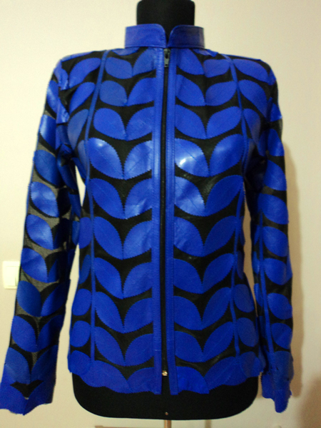 Blue Leather Leaf Jacket for Women [ Click to See Photos ]