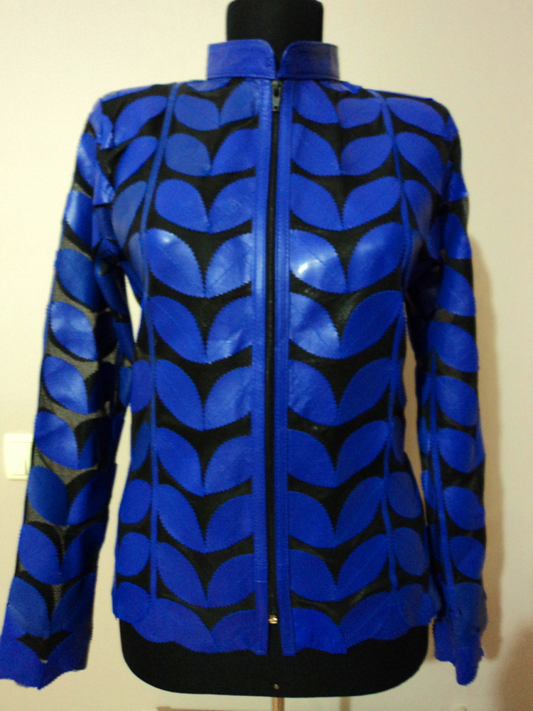 Blue Leather Leaf Jacket for Women [ Design 01 ]