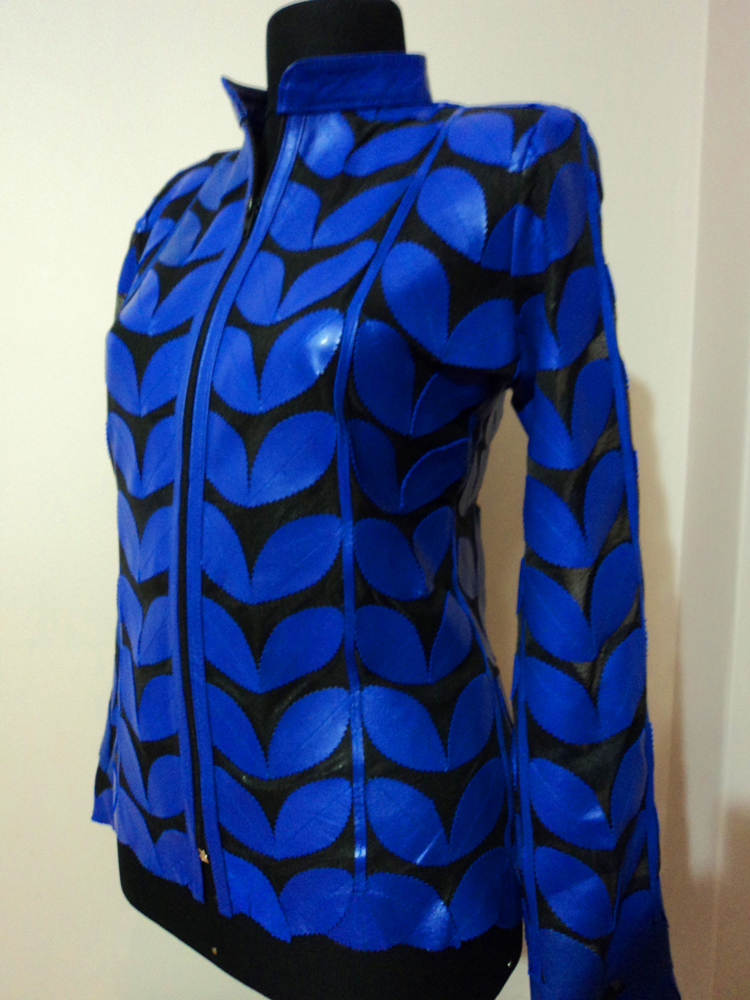 Womens Blue Leather Leaf Jacket