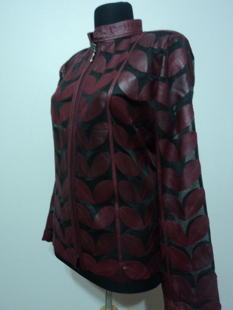 Burgundy Leather Leaf Jacket for Women [ Design 01 ]