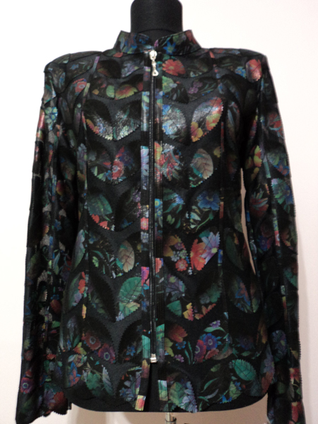 Flower Pattern Black Leather Leaf Jacket for Women