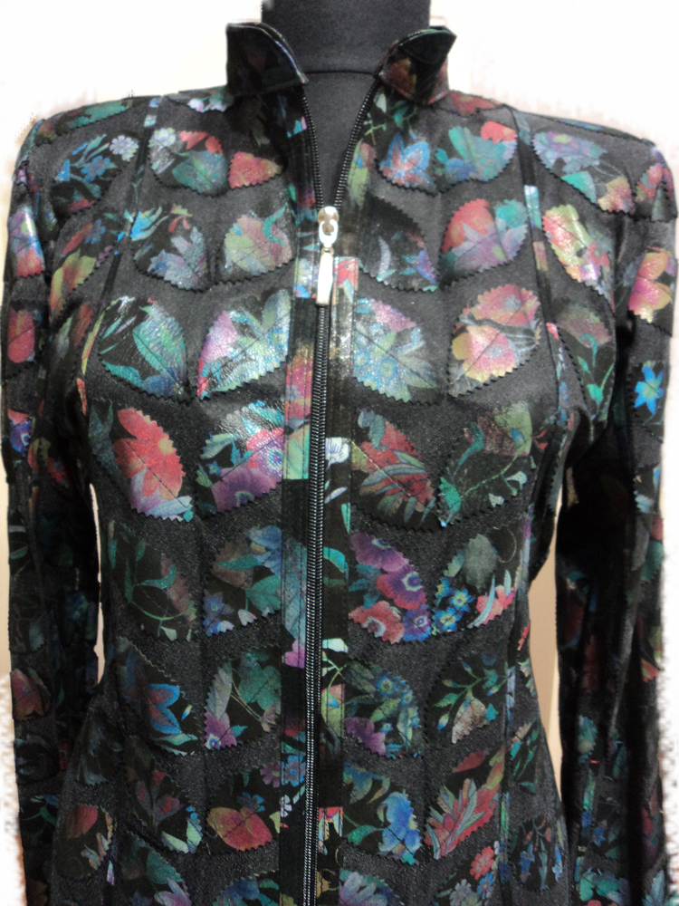 Womens Flower Pattern Black Leather Leaf Jacket