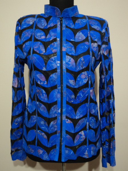 Flower Pattern Blue Leather Leaf Jacket for Women