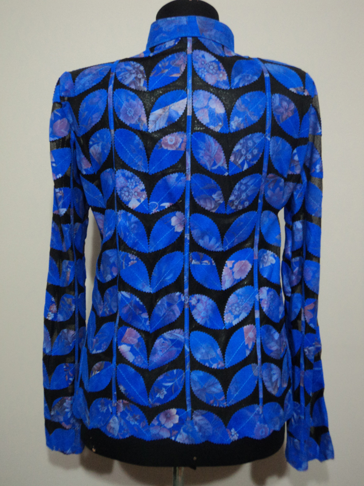Womens Flower Pattern Blue Leather Leaf Jacket