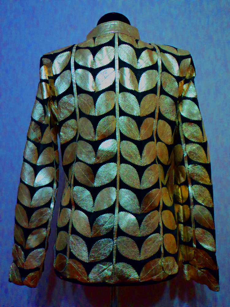 Womens Gold Leather Leaf Jacket