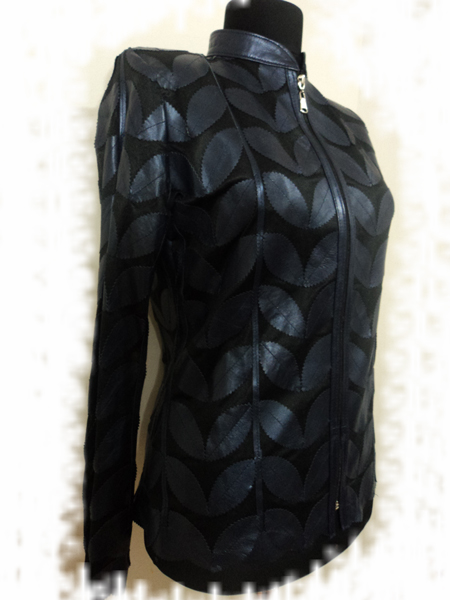 Womens Navy Blue Leather Jacket