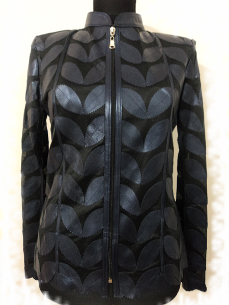 Navy Blue Leather Leaf Jacket for Women [ Click to See Photos ]