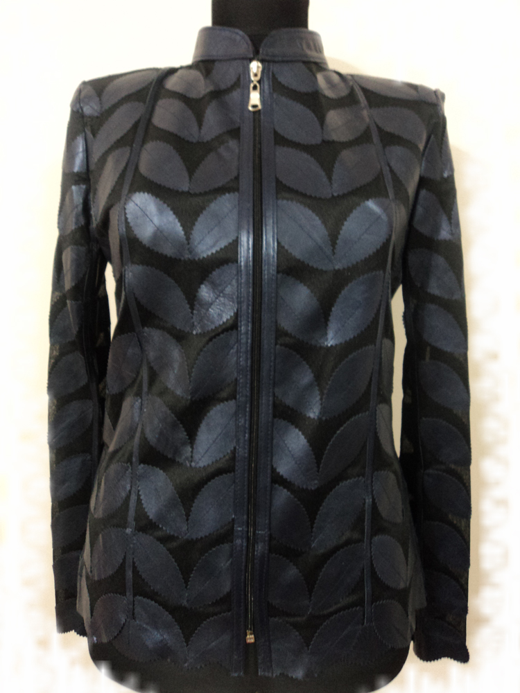 Navy Blue Leather Leaf Jacket for Women [ Design 01 ]