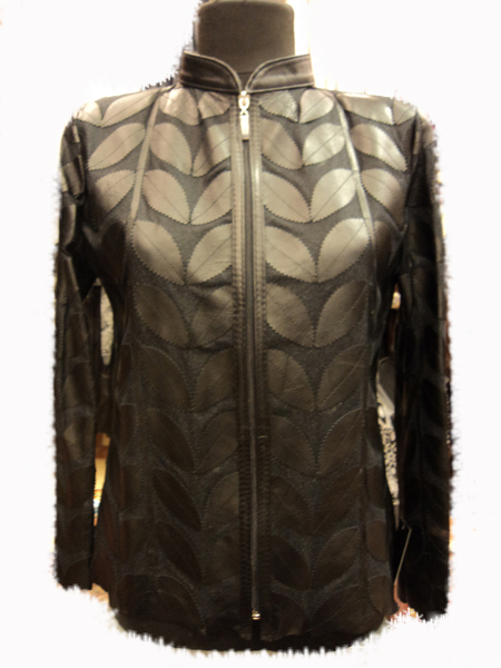 Plus Size Black Leather Leaf Jacket for Women