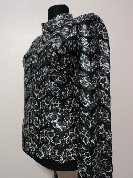 Plus Size Black Leopard Pattern Leather Leaf Jacket for Women