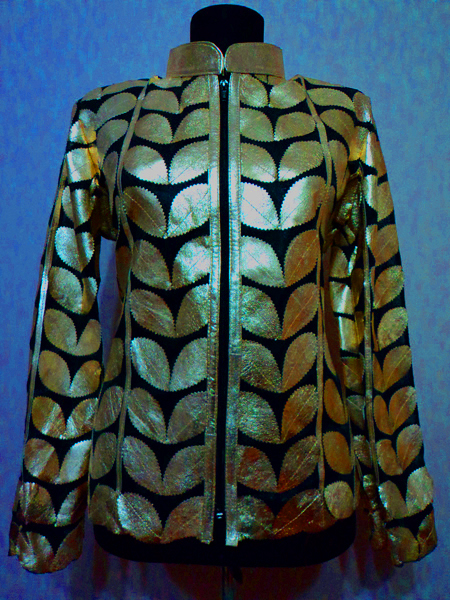 Plus Size Gold Leather Leaf Jacket for Women [ Click to See Photos ]