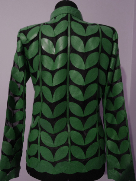 Plus Size Green Leather Leaf Jacket for Women