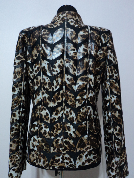 Plus Size Leopard Pattern Black Leather Leaf Jacket for Women