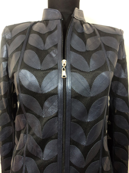 Navy blue leather jacket plus size