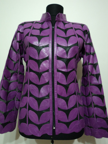 Plus Size Purple Leather Leaf Jacket for Women