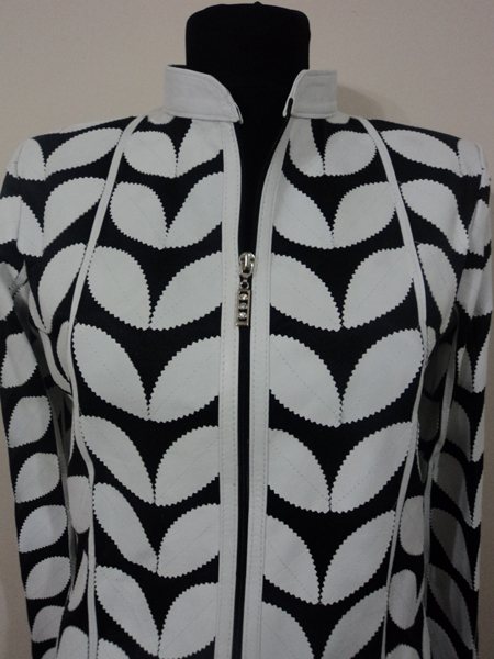 Plus Size White Leather Leaf Jacket for Women
