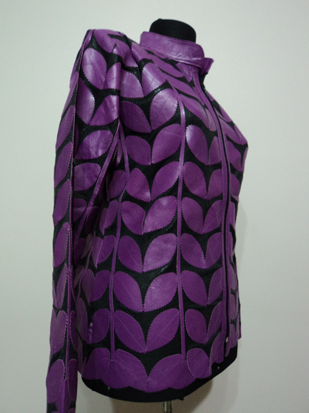 Purple Leather Leaf Jacket for Women
