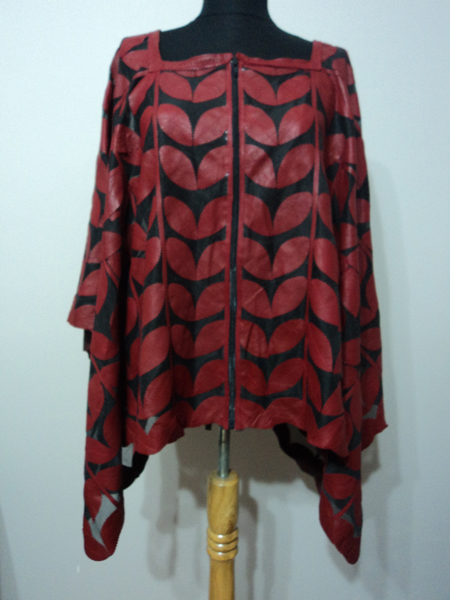 Womens Red Leather Leaf Poncho