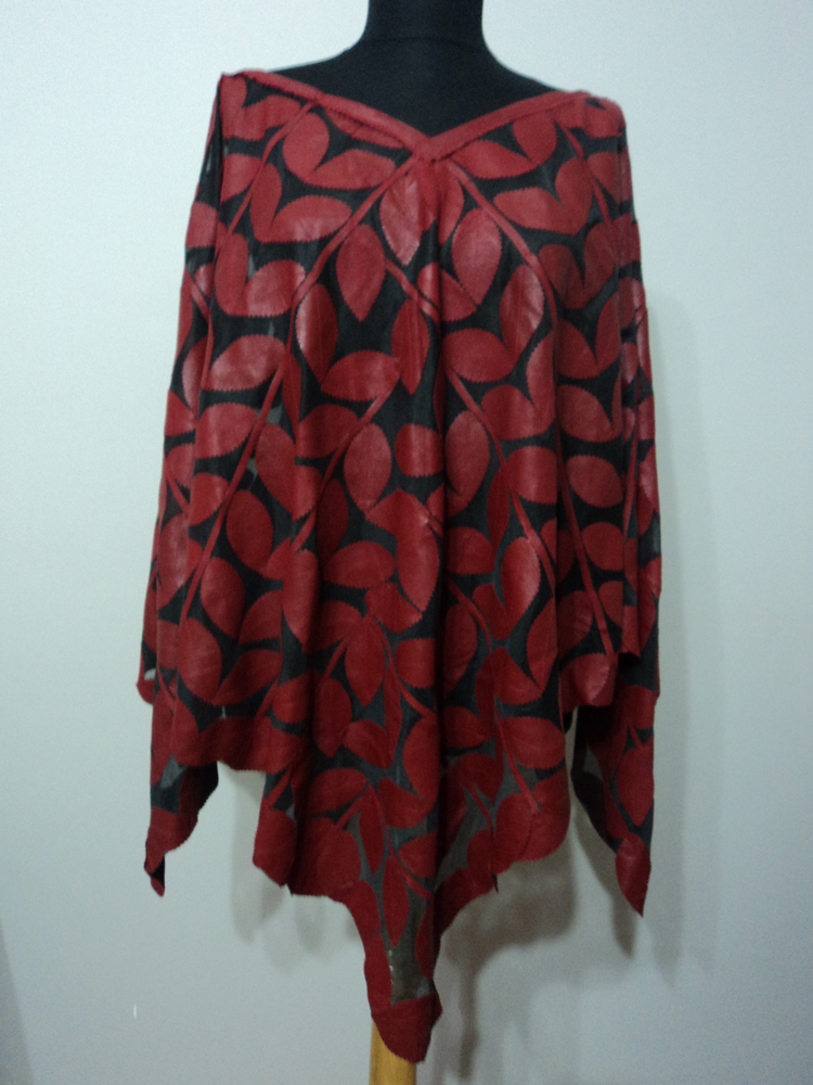 Red Leather Leaf Poncho for Women / Womens Red Leather ...
