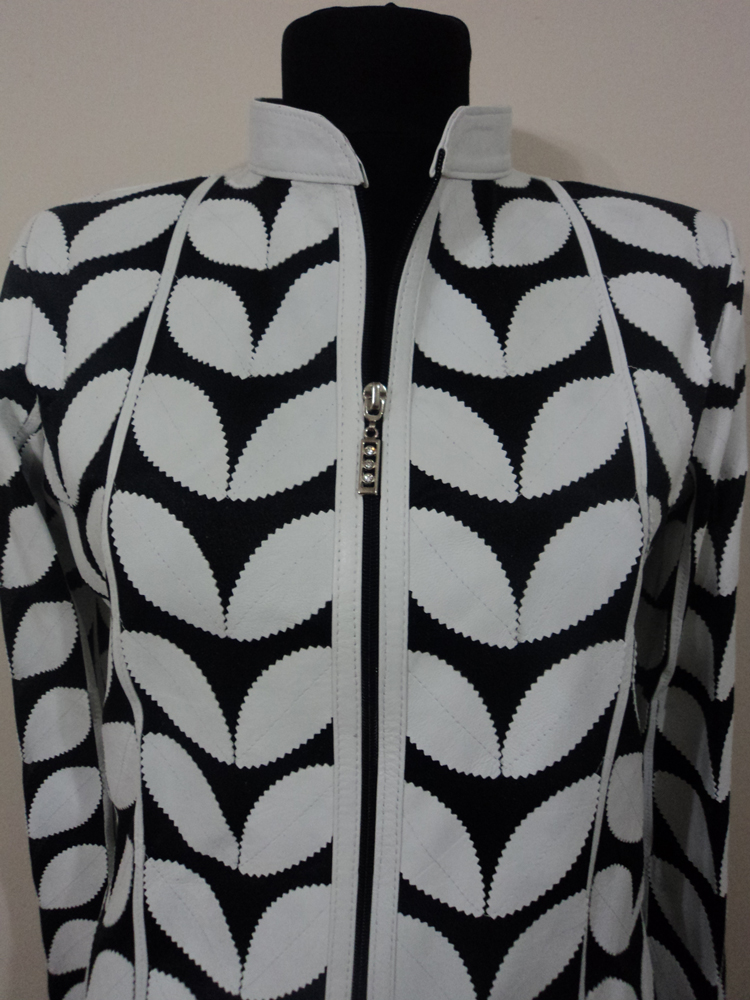 Womens White Leather Leaf Jacket
