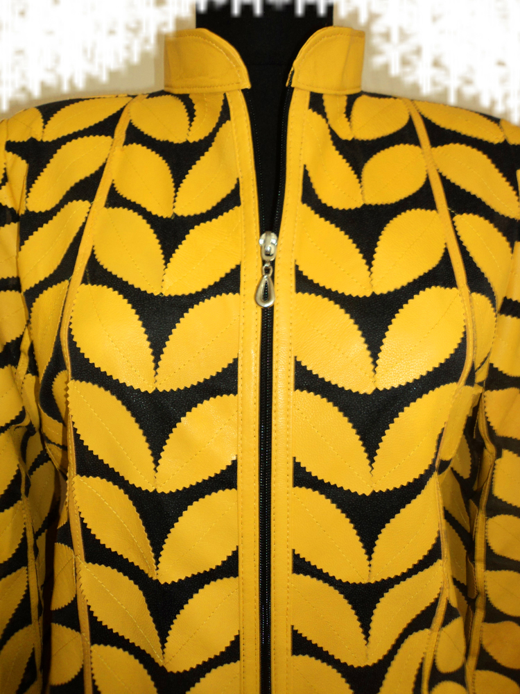 Womens Yellow Leather Leaf Jacket