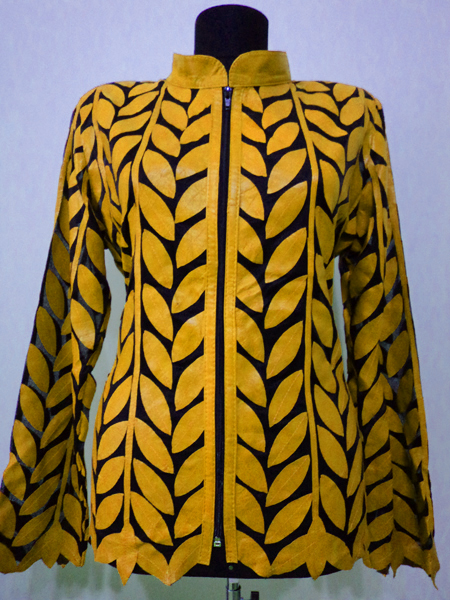 Yellow Leather Leaf Jacket for Women Design 04 Genuine Short Handmade Lightweight Meshed [ Click to See Photos ]