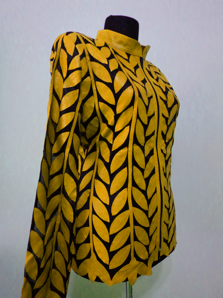 Yellow Leather Leaf Jacket for Women Design 04 Genuine Short Handmade Lightweight Meshed