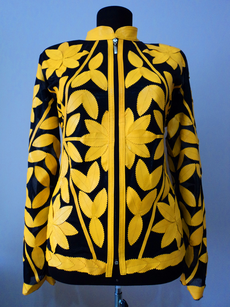 Yellow Leather Leaf Jacket for Women