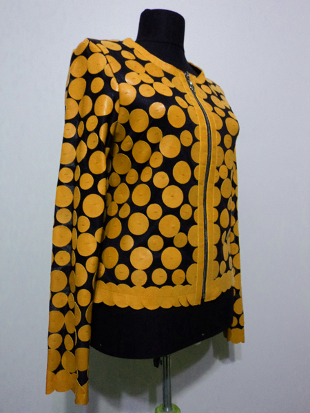 Yellow Leather Leaf Jacket for Women Design 07 Genuine Short Zip Up Light Lightweight