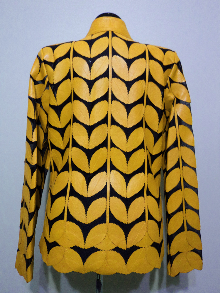 Yellow Leather Leaf Jacket for Women V Neck Design 09 Genuine Short Zip Up Light Lightweight